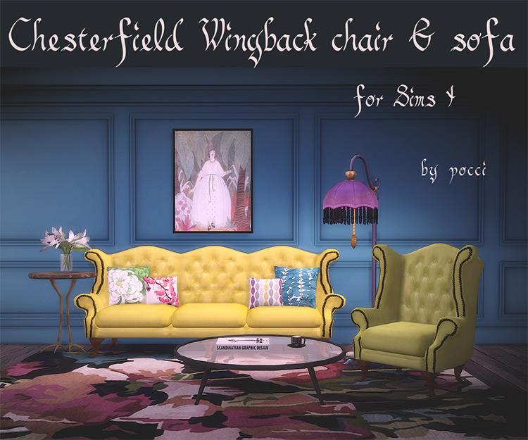 Chesterfield Wingback Chair/Sofa CC Set TS4