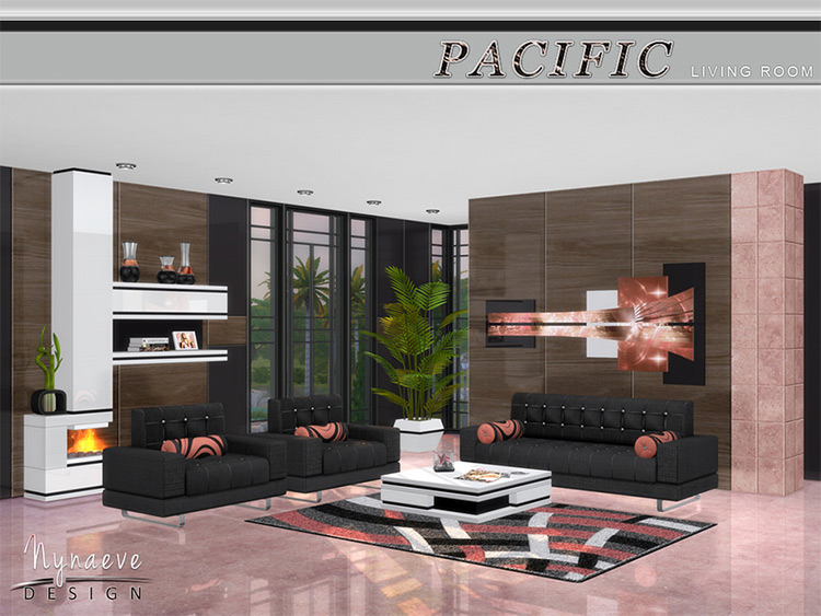 Pacific Heights Living Room Set - Sims 4 CC Screenshot