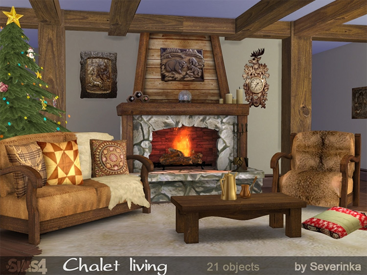 Chalet Living Sims 4 CC
