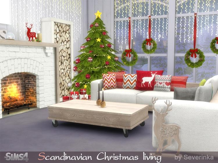 Scandinavian Christmas Living Furniture - Sims 4 CC