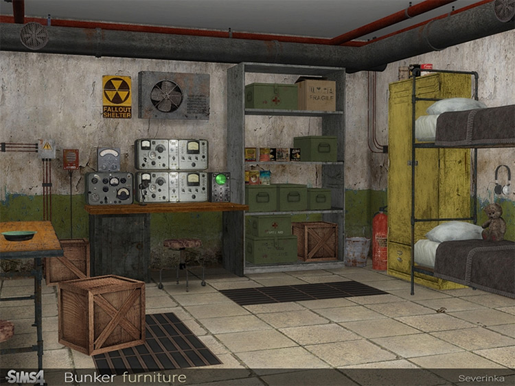 Bunker Furniture Custom Content for The Sims 4