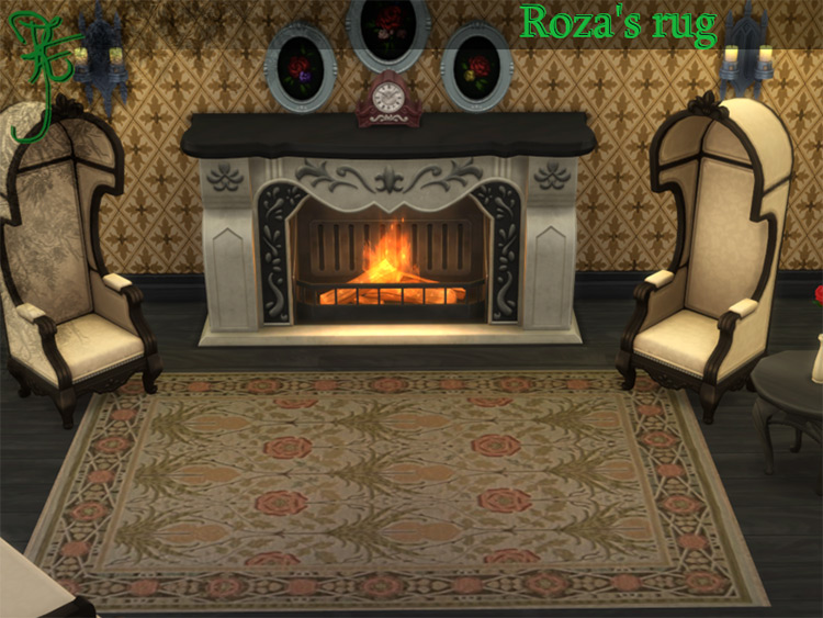 Roza Rug decoration for Sims 4