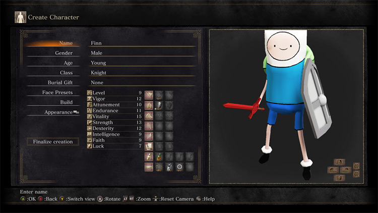 Finn the Human Texture Re-Skin Mod for Dark Souls 3