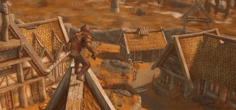 Assassin on rooftops in Skyrim