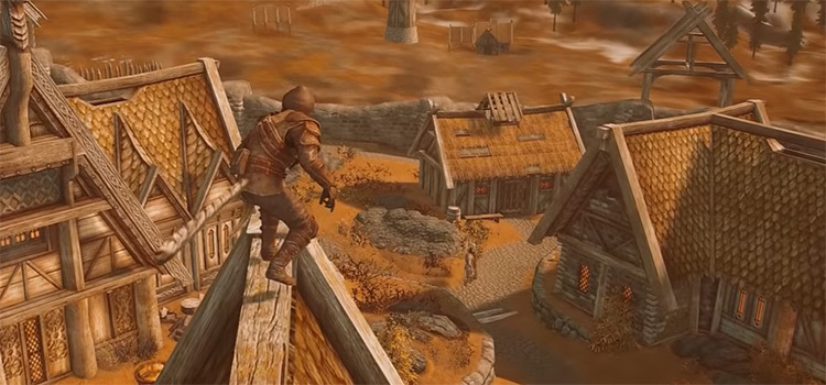 Assassin on rooftops in Skyrim
