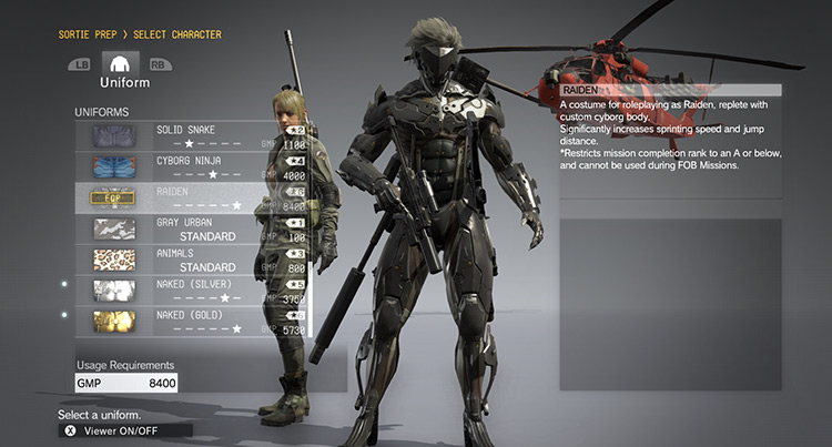 Item unlocker MGS V Menu screenshot