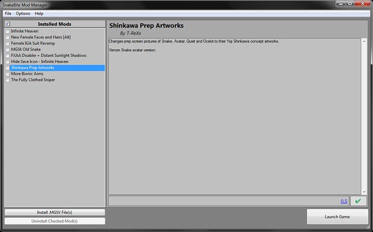SnakeBite Mod Manager MGS V menu