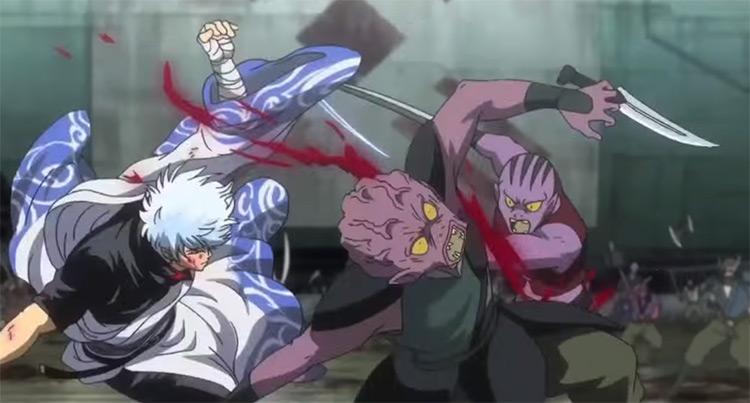Gintoki Sataka fighting aliens Gintama
