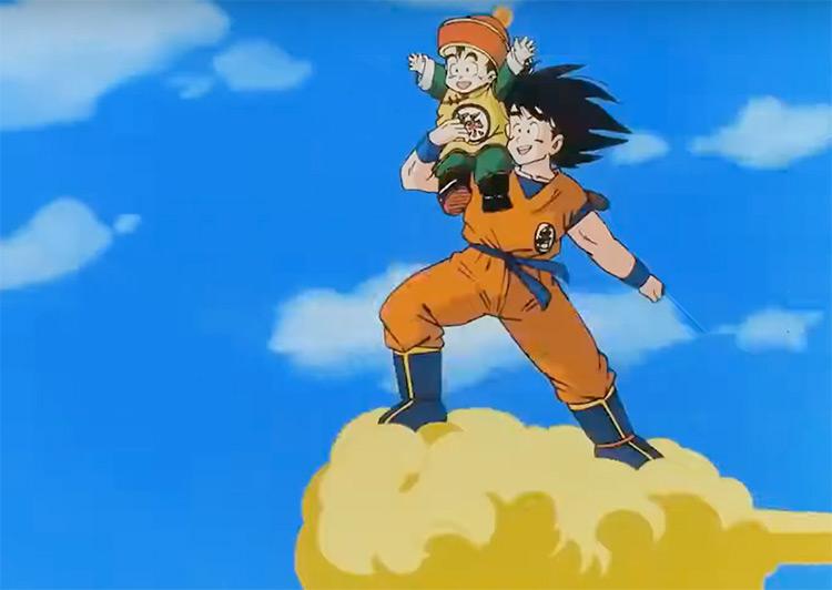 Son Goku flying with Gohan