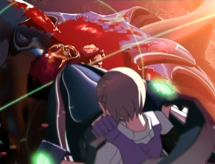 Slain alien by Anime girl