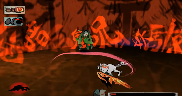 Okami PS2 battle screenshot