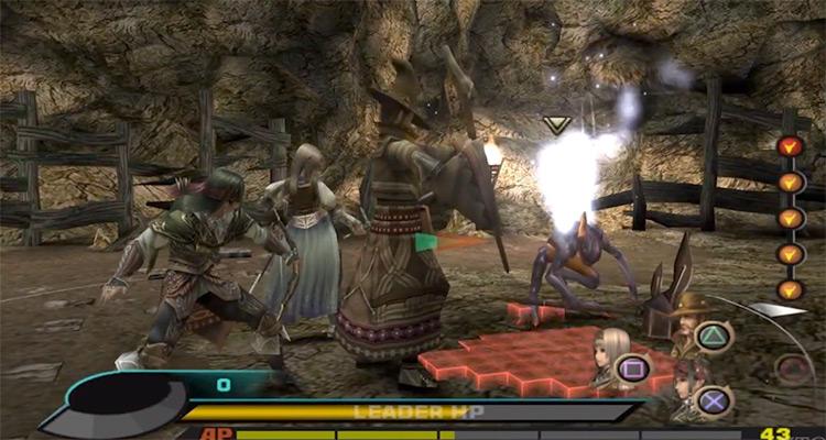 Battle scene in Valkyrie Profile 2: Silmeria PS2