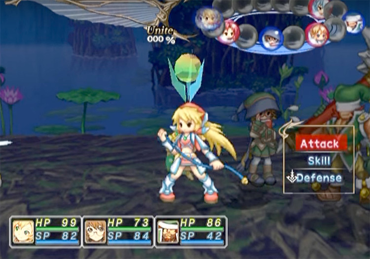 Selecting action for character in Mana Khemia 2: Fall of Alchemy