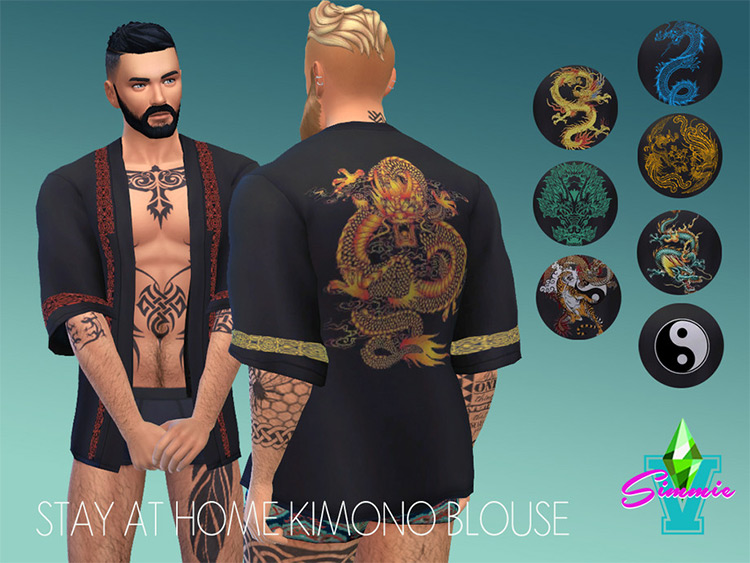 SaH Kimono Blouse for guys - Sims 4 CC