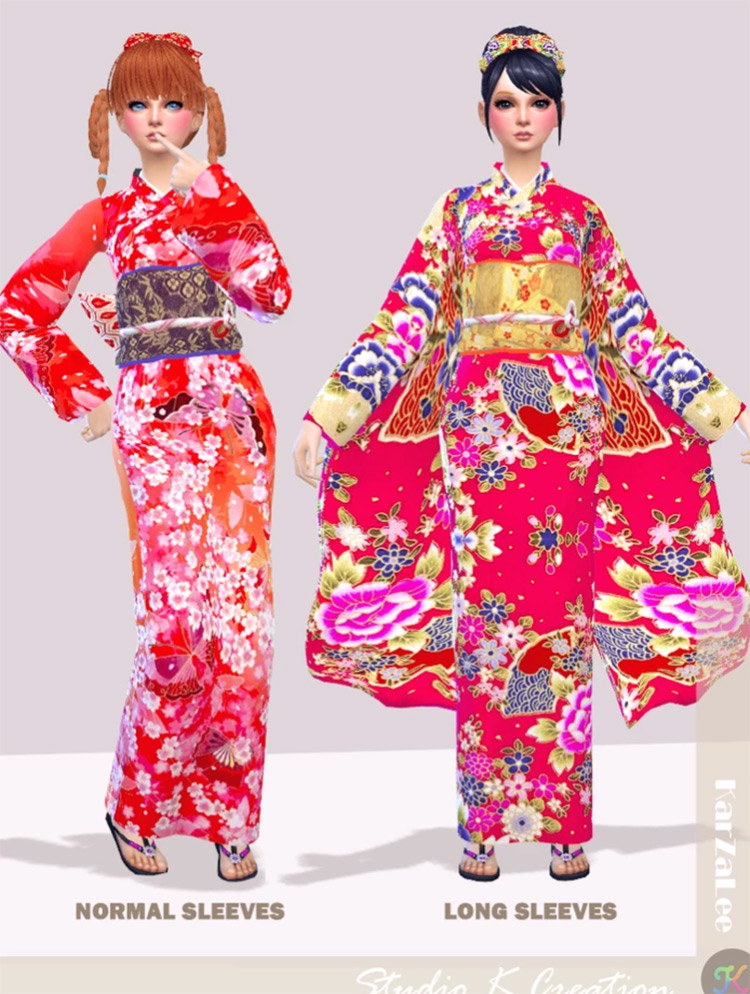 Japanese Kimono CC - Traditional Outfit for The Sims 4