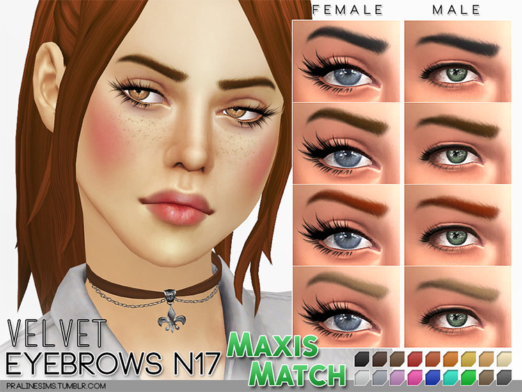 Velvet Eyebrows N17 in TS4