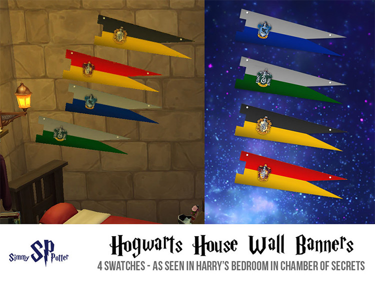 Hogwarts House Wall Banners - Sims 4 CC