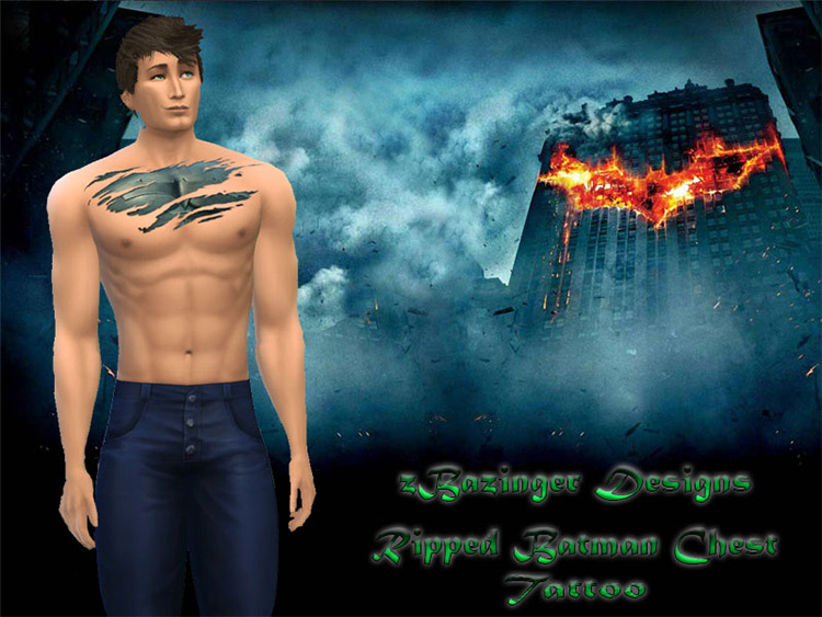 Batman Ripped Chest Tattoo - Sims 4 CC