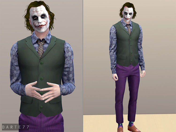 The Joker Outfit CC - Sims 4