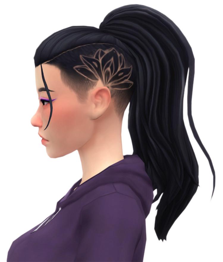 Lotus side shaved pattern ponytail hairdo - Sims 4 CC