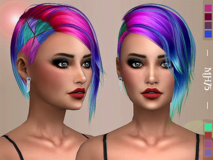 Rainbow colored short hair side shave - TS4 CC