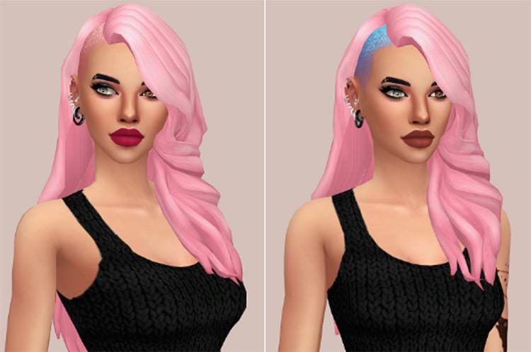 Long girl hair Side Shave - Sims 4 CC