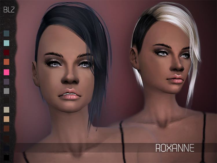 Roxanne Hair - Multicolored Side Shaved Sims4 CC