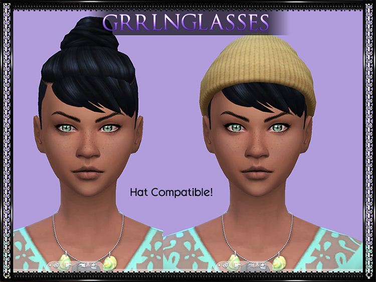 Dark Updo Hair with Side Shave - Sims 4 CC