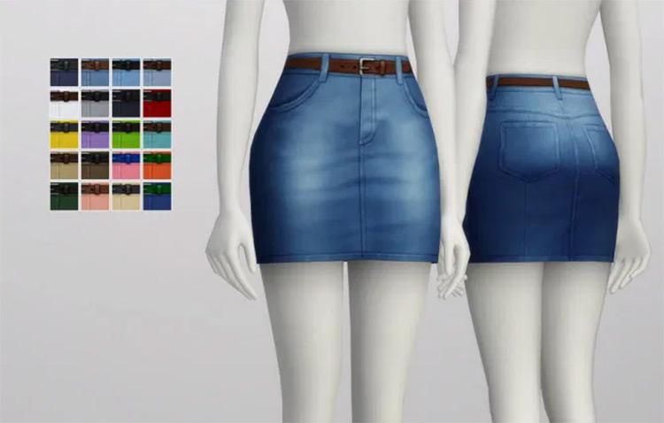 High Rise Denim Skirts - Sims 4 CC