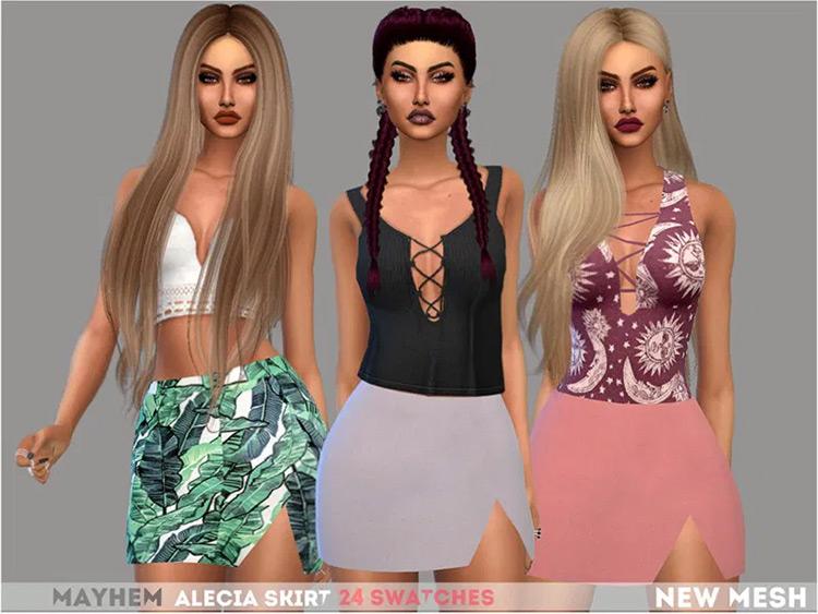 Cute mid-length skirts with cut - Sims 4 CC