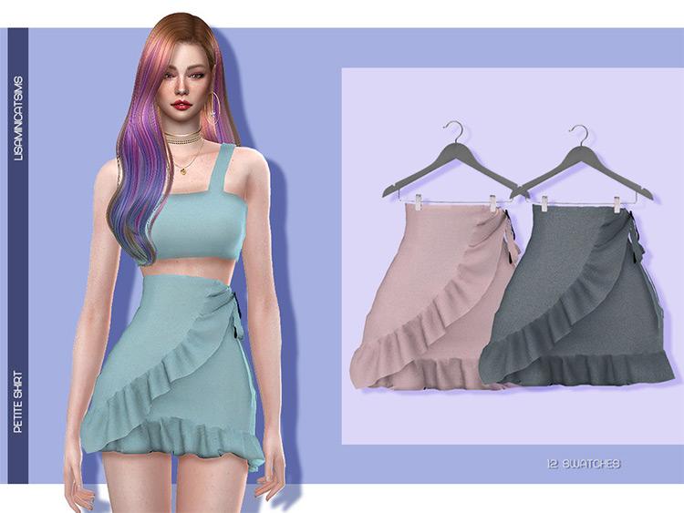 Petite High-waisted mini skirt with ruffles - TS4 CC