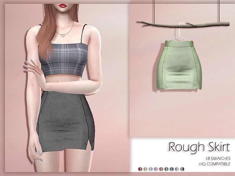 Rough textured mini-skirt - Sims 4 CC