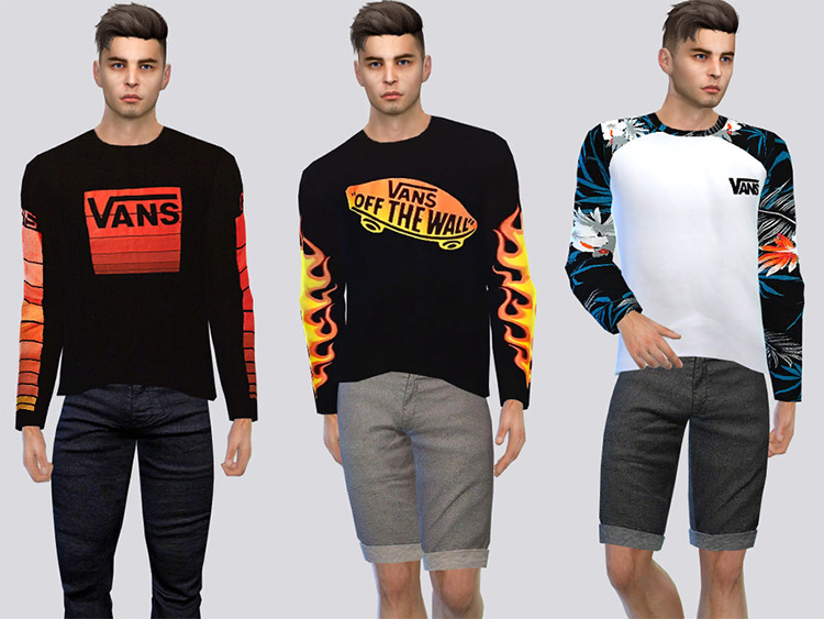 Vans Long Sleeve Shirts - Sims 4