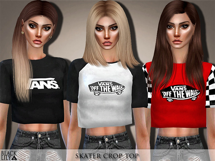Skater Crop Top for Sims 4