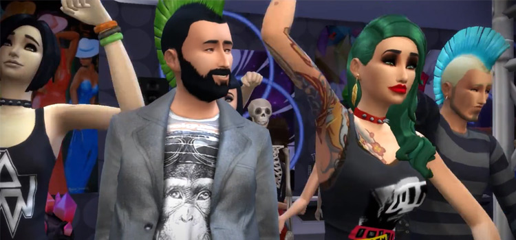 Rockers and punk sims at a concert - Sims 4 screenshot