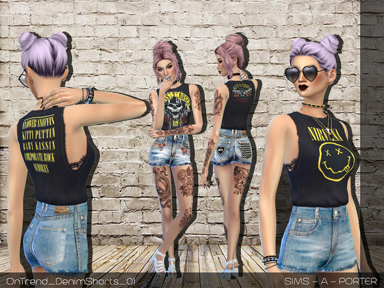 On Trend Rock Shirts CC set - The Sims 4