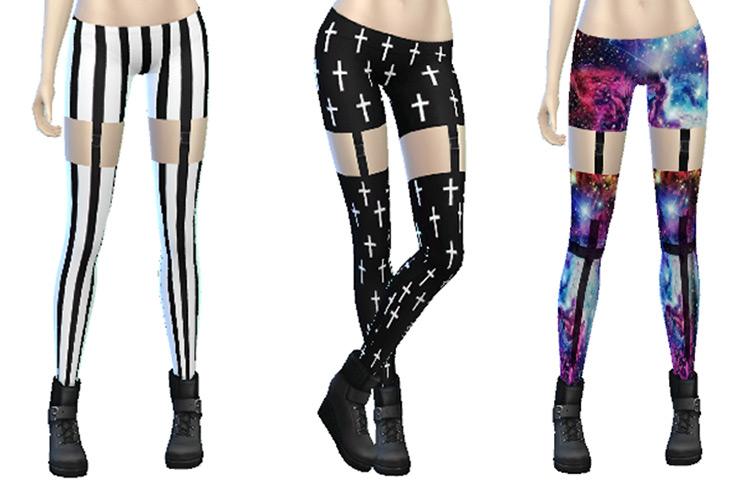 Goth Punk Garter Leggings TS4 CC