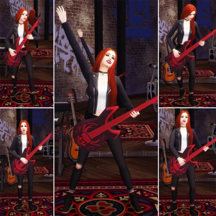 Rock Star Poses + Ghoulish Guitar - Sims 4 CC