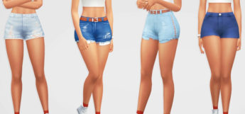 Girl poses wearing jean shorts - Sims 4 CC