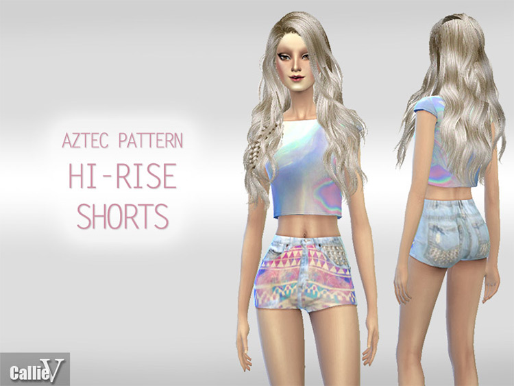 Aztec Pattern High-Rise Shorts for Girls - TS4 CC