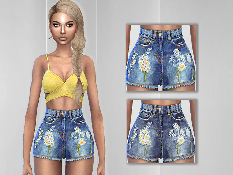 Cute embroidered jean shorts for girls - TS4 CC