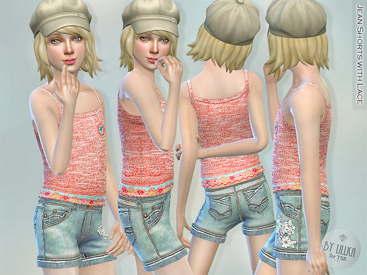 Jean shorts with lace - Sims 4 girls CC