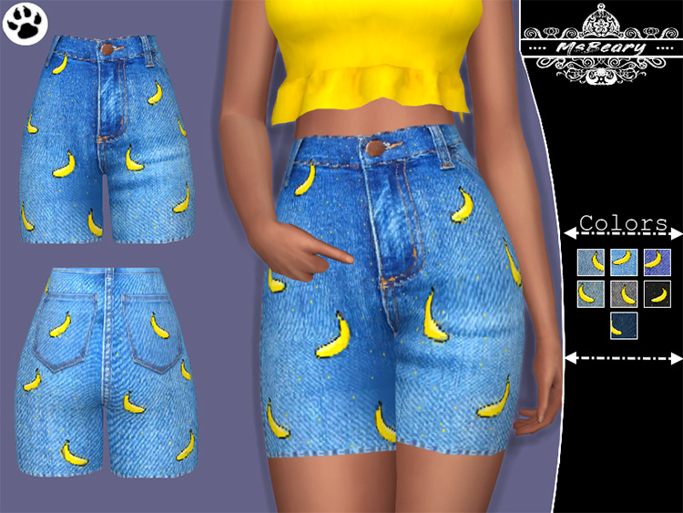 Denim banana shorts for girls - TS4 CC