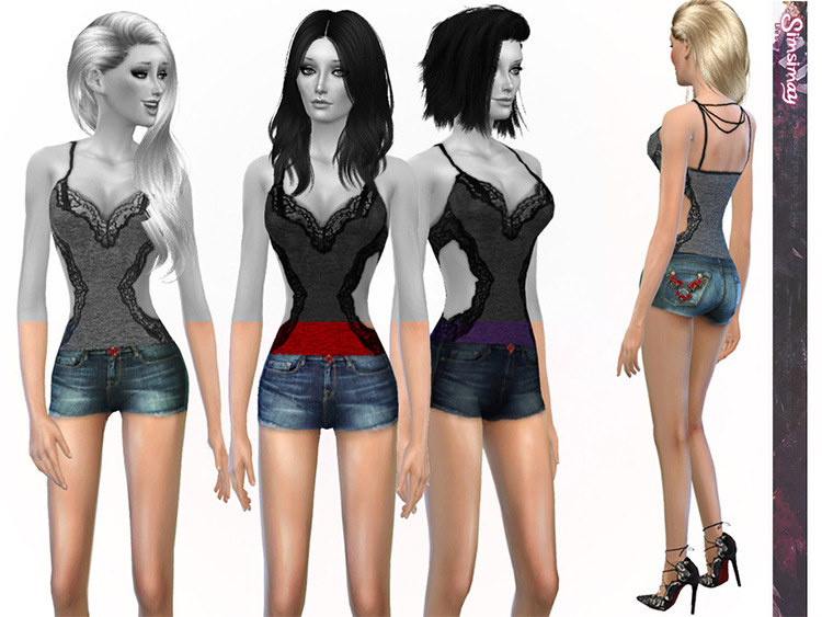 Jean shorts with flower pattern - TS4 Summer Shorts CC