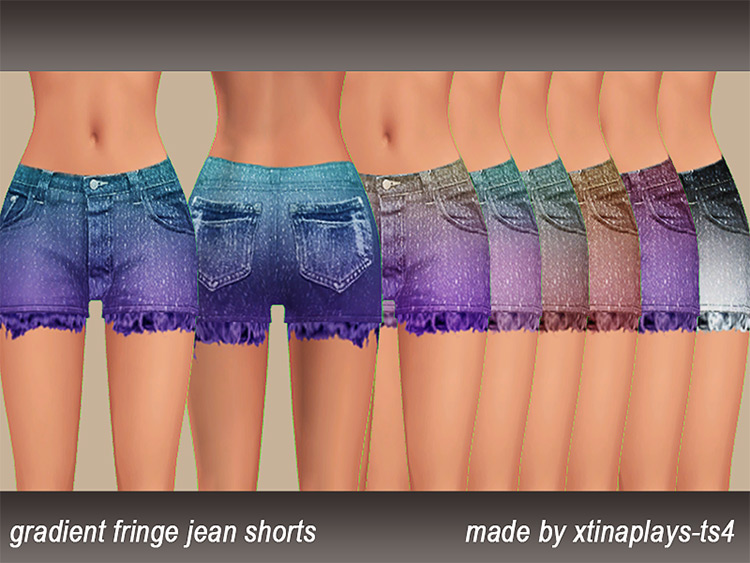 Fringe colorful jean shorts for girls - TS4 CC