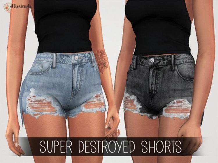 Torn slightly ripped jean shorts for girls - TS4 CC