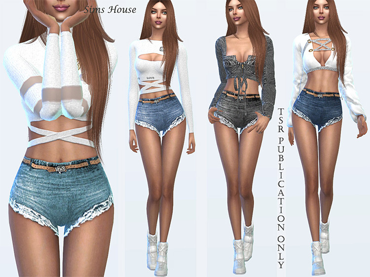 Girls summer denim shorts ripped style - Sims 4 CC