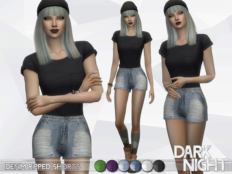 Ripped girls denim shorts for The Sims 4