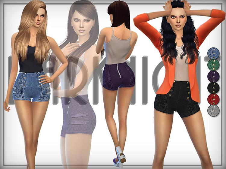 Denim High-Waisted Shorts for girls - cute Sims 4 CC