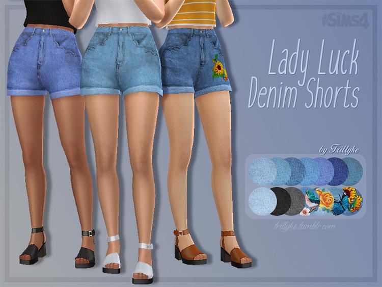 Lady Luck cute denim shorts for girls - TS4 CC
